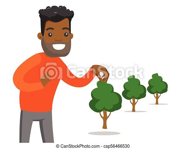Young African American Gardener Plants A Tree