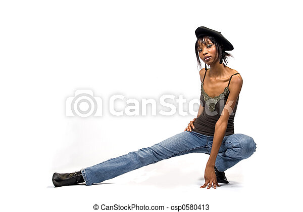 Young African American girl - csp0580413