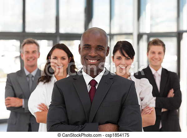 Young African American Man Business leading a team - csp1854175