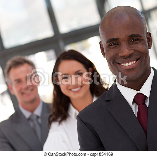 Young African American Man Business leading a team - csp1854169