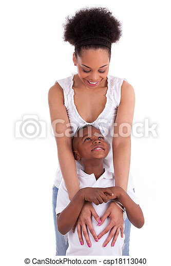Young african american single mother with her son, isolated on white background - Black people - csp18113040