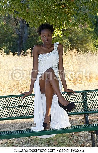 Young African American Teen Girl Outdoor Dress - csp21195275