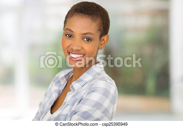 young african american woman at home - csp25395949