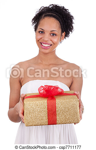 Young African American woman holding a gift - csp7711177