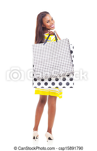 young african american woman holding shopping bags - csp15891790