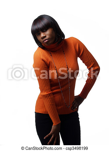 Young African American Woman in orange sweater - csp3498199