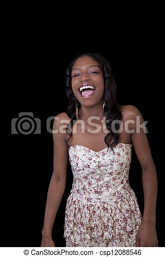 31600c48b073b Young african american woman open mouth laugh. Young black woman ...