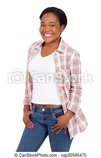 young african american woman portrait - csp30595470