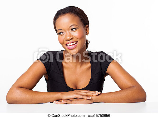 young african american woman sitting on white background - csp15750656