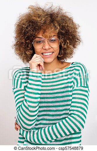 young african american woman smiling with glasses - csp57548879