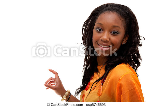 Young African American woman smiling - csp5746593