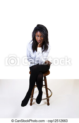 Young African American Woman Stockings Shirt Stool - csp12512663