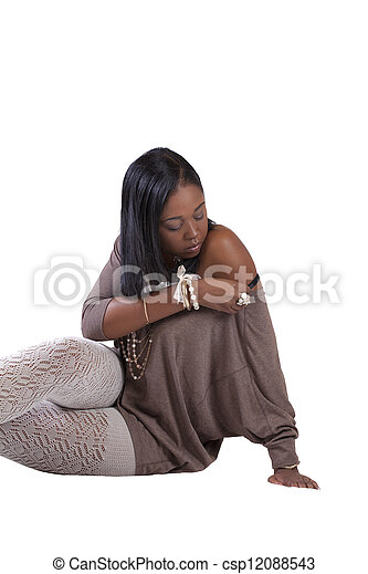 Young African American Woman Textured Stockings Sitting - csp12088543
