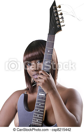 Young African American Woman topless holding guitar - csp8215442
