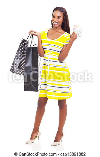 young african american woman with cash - csp15891882