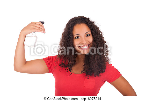 Young african american woman with long hair - csp16275214