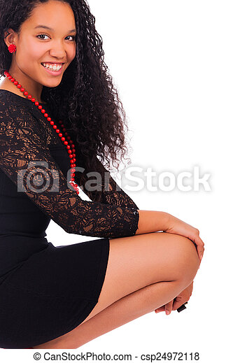 Young african american woman with long hair - csp24972118