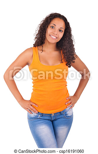 Young african american woman with long hair - csp16191060