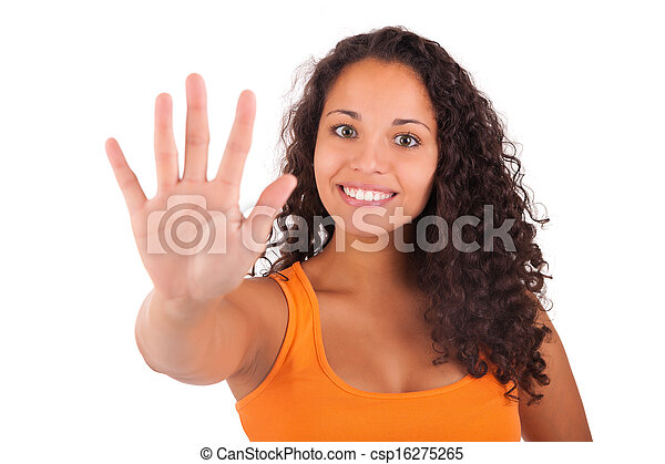 Young african american woman with long hair - csp16275265