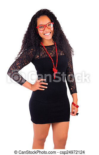 Young african american woman with long hair - csp24972124