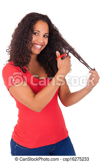 Young african american woman with long hair - csp16275233