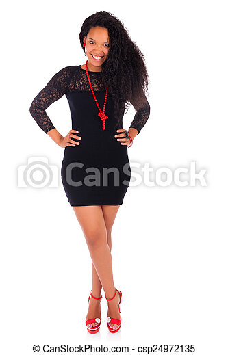 Young african american woman with long hair - csp24972135