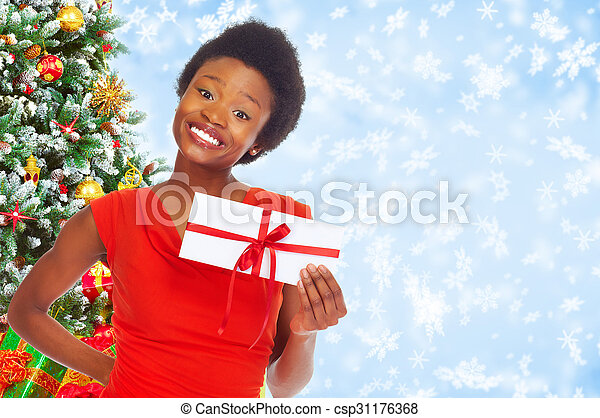 Young african-american woman with envelope. - csp31176368
