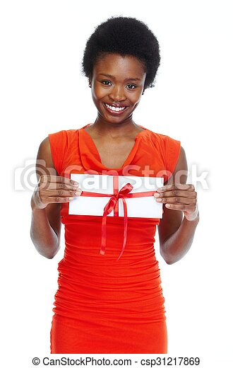 Young african-american woman with envelope. - csp31217869