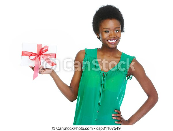 Young african-american woman with envelope. - csp31167549