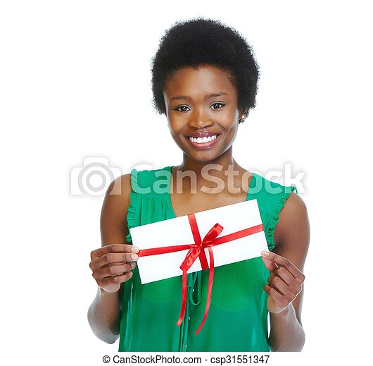 Young african-american woman with envelope. - csp31551347