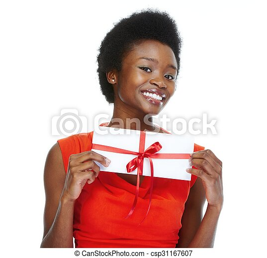 Young african-american woman with envelope. - csp31167607