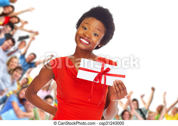 Young african-american woman with envelope. - csp31243000