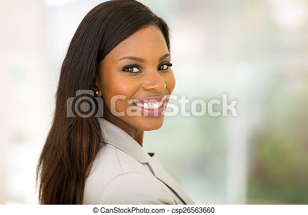 young african business woman in office - csp26563660