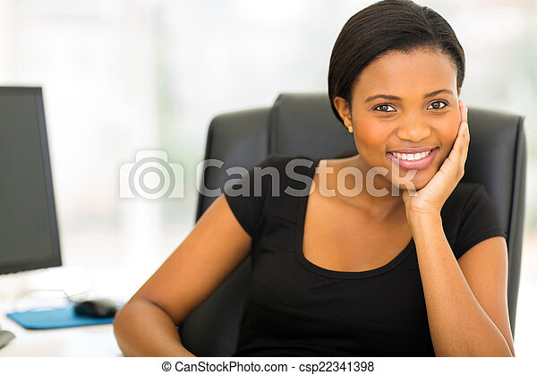 young african businesswoman in office - csp22341398