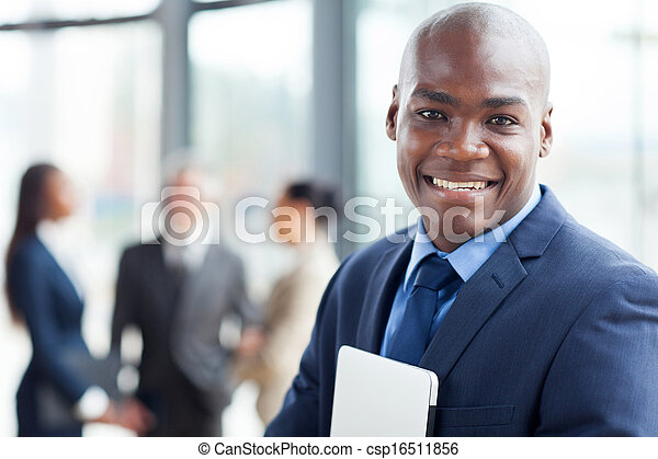 young african corporate worker in modern office - csp16511856