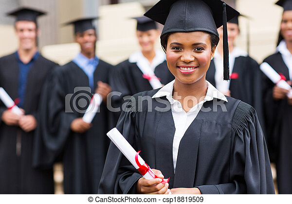 young african girl at graduation - csp18819509
