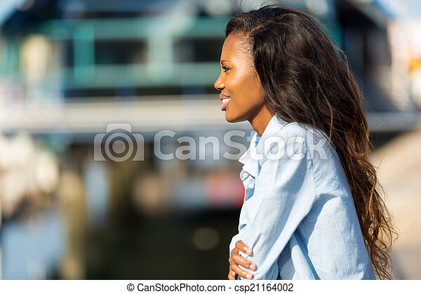 young african woman looking way - csp21164002