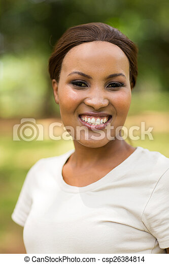 young african woman outdoors - csp26384814