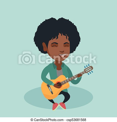 Young african woman playing the acoustic guitar