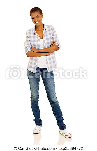young african woman with arms cossed - csp25394772