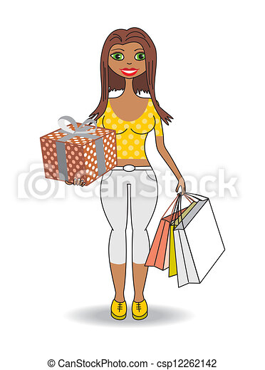 Young african woman with gifts - csp12262142