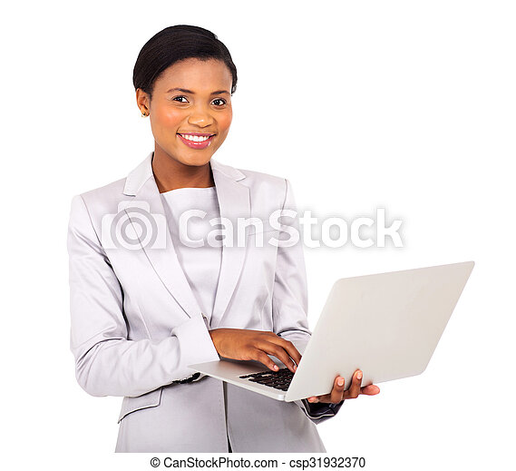 young afro american businesswoman using laptop computer - csp31932370