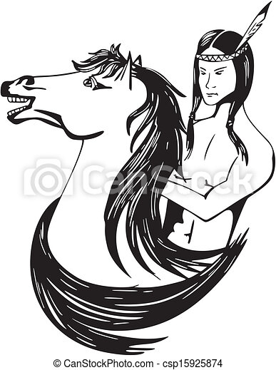 Young american indian horseman black and white vector illustration
