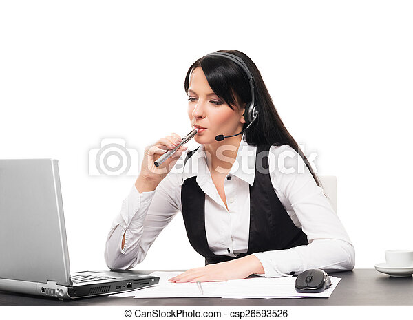 Young and attractive business woman with an electronic cigarette working in office isolated on white - csp26593526