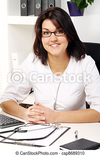 Young and attractive woman doctor - csp8689310