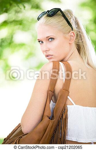 Cute blonde teen girl faces fill blank