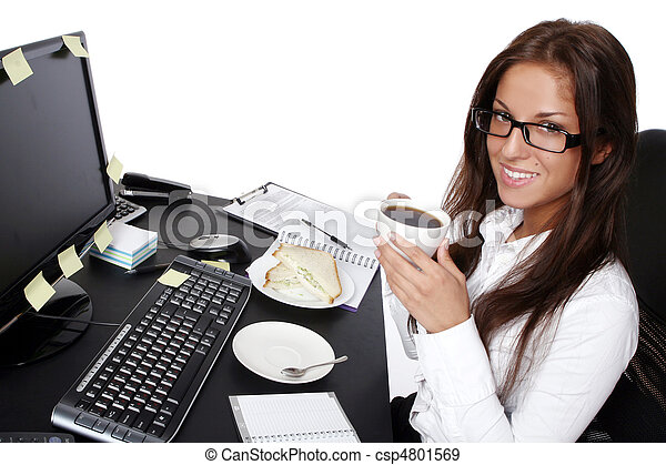 young and beautiful woman in office - csp4801569