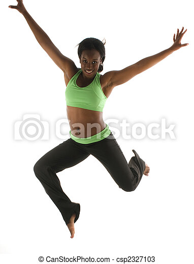 young and pretty hispanic latina black woman wearing exercise tights and working out with dance ballet movements - csp2327103