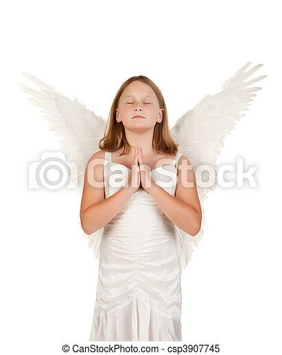 young angel girl praying on white - csp3907745