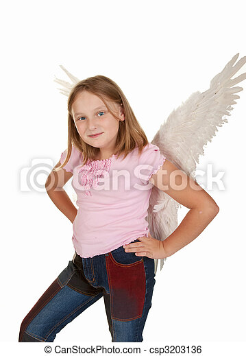 Young Angel Girl With Hands Hips